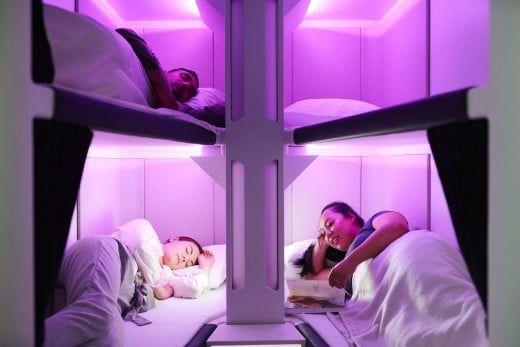 Schlafbetten von Air New Zealand.