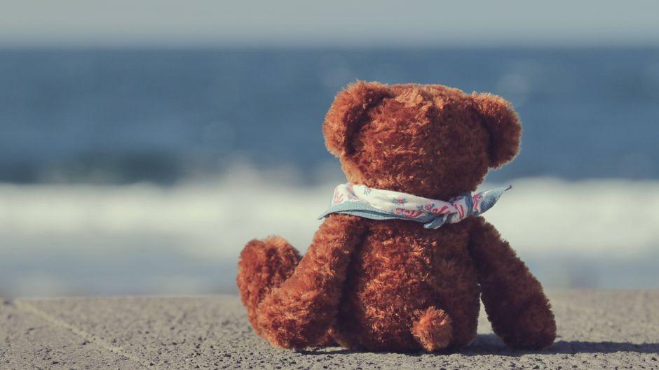 Ein brauner Plüschteddybär sitzt am Strand und blickt aufs Meer.