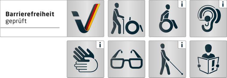 """Symbole und die Prüfkriterien für """"Reisen für Alle"""""""