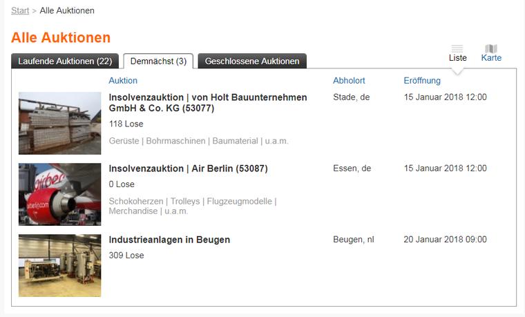 """Null Lose für Air Berlin eingetragen – unter dem Reiter """"Demnächst"""" waren am Montag drei Auktionen verzeichnet."""