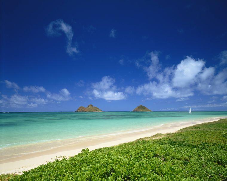 Der Lanikai Beach liegt im Osten der Insel Honolulu in Hawaii.