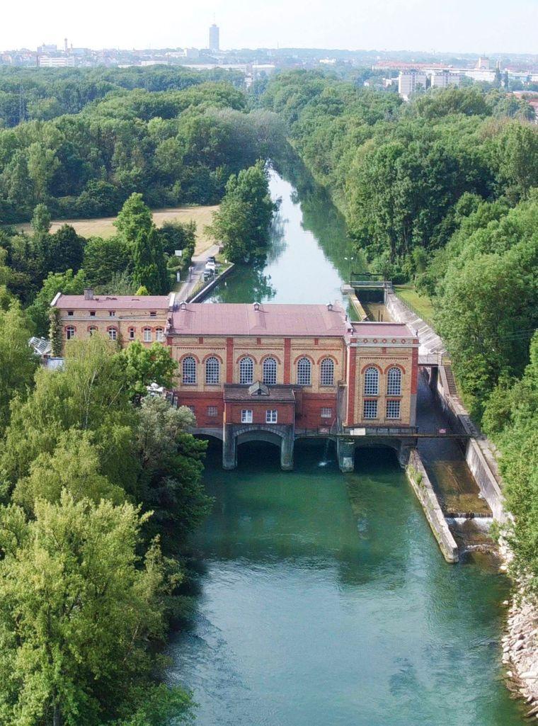 Das Wassermanagementsystem Augsburg von oben.