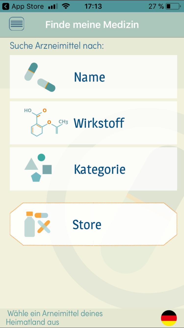 Die Finde-meine-Medizin-App hilft dir, das richtige Medikament im Ausland zu finden.