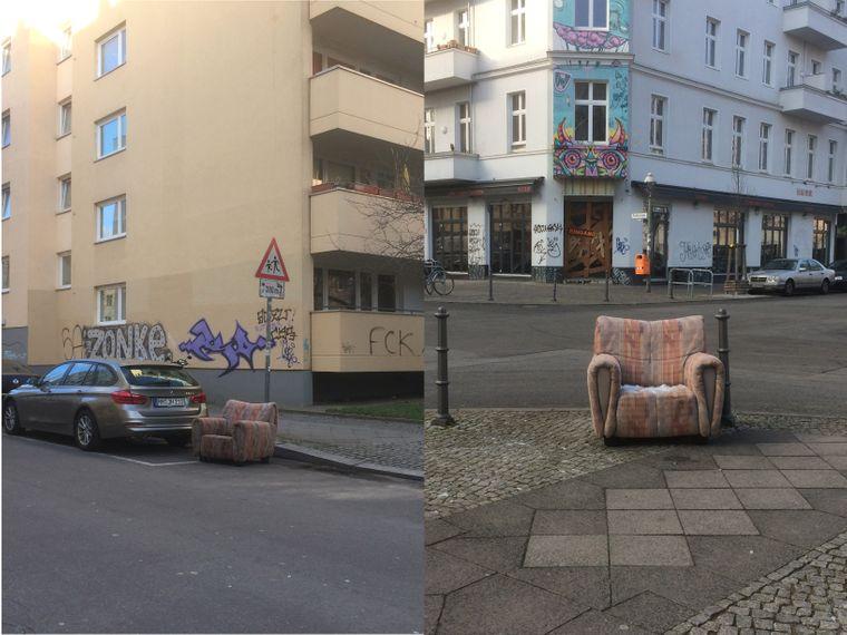 Auf geheimnisvolle Weise scheint dieser Stuhl durch Kreuzberg zu reisen.