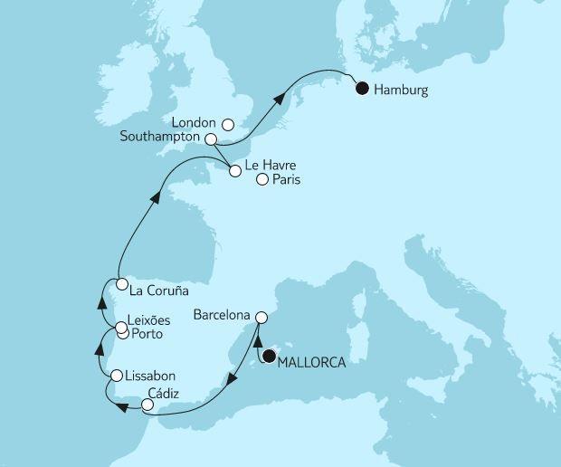 Reiseverlauf Mallorca bis Hamburg II.