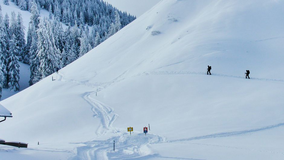 Das Schild verbietet es ganz klar, doch leichtsinnige Skifahrer sind trotzdem abseits der gesicherten Pisten unterwegs.