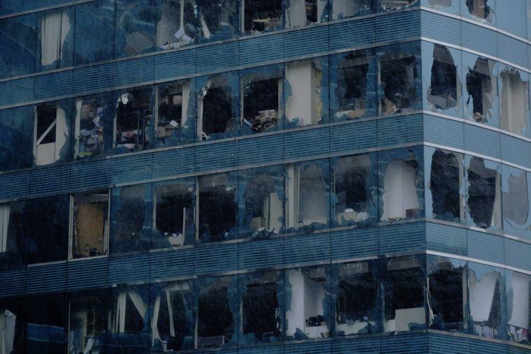 """In Hongkong beschädigte """"Mangkhut"""" Häuser und ließ Fensterscheiben zerbrechen."""