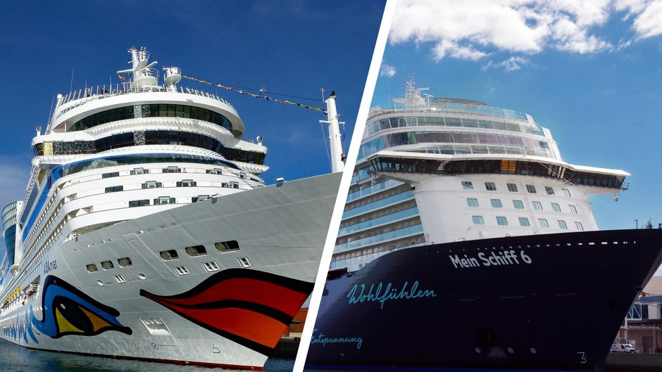 """Ein Aida-Schiff und die """"Mein Schiff 5"""" von Tui Cruises."""