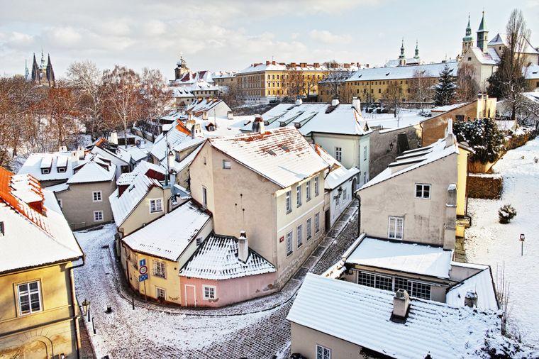 Prager Viertel Nový Svět im Winter.