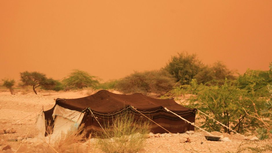 Beduinenzelt in der Wüste in Jordanien
