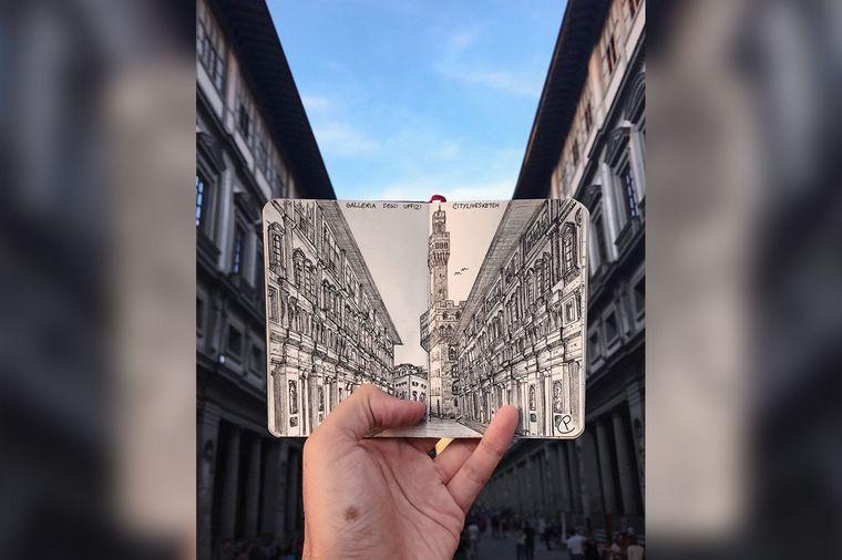 Fast schöner als das Original, oder? Der Blick auf die Uffizien in Florenz.