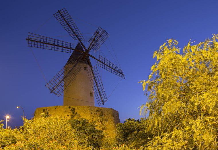 Die alte Windmühle an der Ausfahrt von Santa Ponsa ist das Wahrzeichen der Stadt.