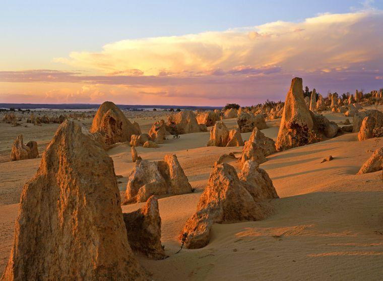 """Der Blick über die """"Pinnacles Desert"""" im Nambung-Nationalpark in Australien."""