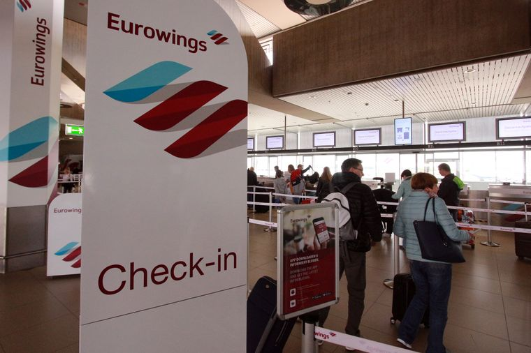 Der Check-in-Schalter von Eurowings.