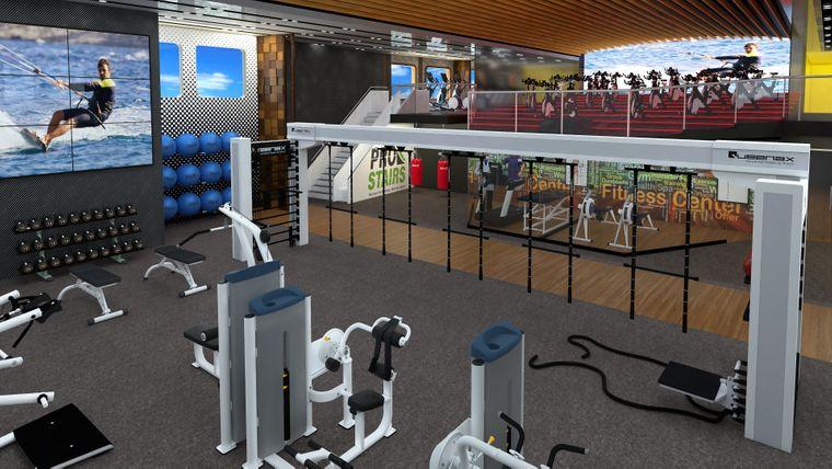 Im Fitnessstudio sollen sich die Passagiere auspowern.