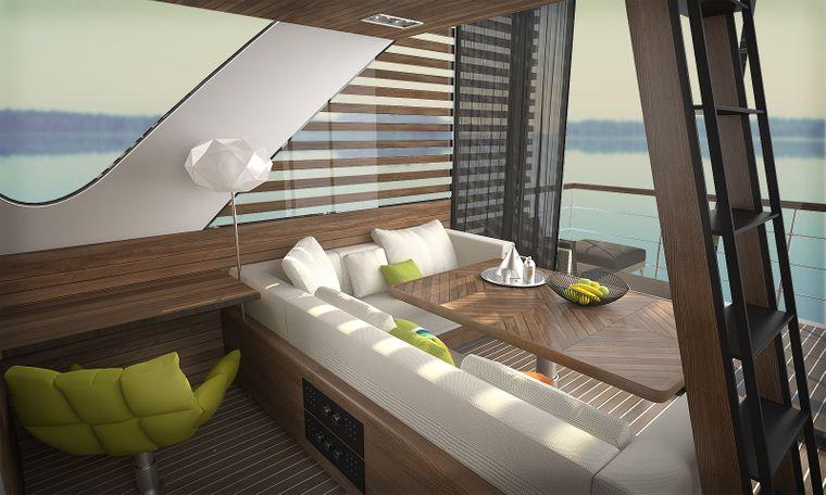 """Schlafen mit toller Aussicht: Hier siehst du ein Schlafzimmer auf einem Catamaran-Apartment von """"Salt & Water"""" in Serbien."""