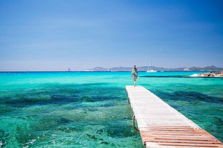 Am ruhigsten auf den Balearen geht es vor der Süd-Ost-Küste Ibizas auf Formentera zu.
