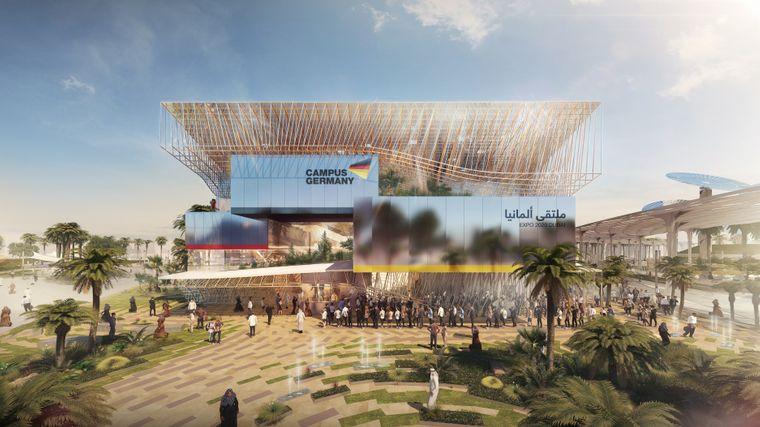 Simulation des deutschen Pavillons bei der Expo 2020 in Dubai.