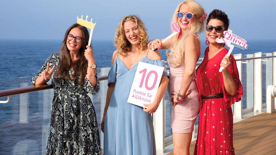 """Die vier Teilnehmerinnen von """"Shopping Queen auf hoher See""""."""