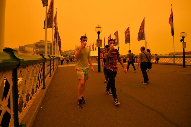 Rauch und Asche belasten die Luft in Sydney, viele Menschen nutzen einen Atemschutz.