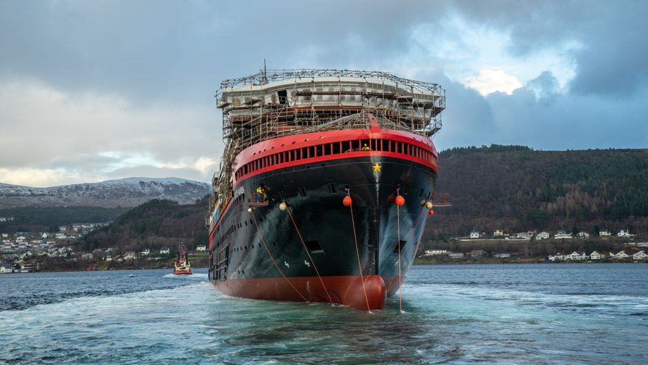 """Die """"MS Fridtjof Nansen""""  auf der norwegischen Kleven-Werft: Ab Frühjahr soll sie auf Expeditionsreise gehen."""