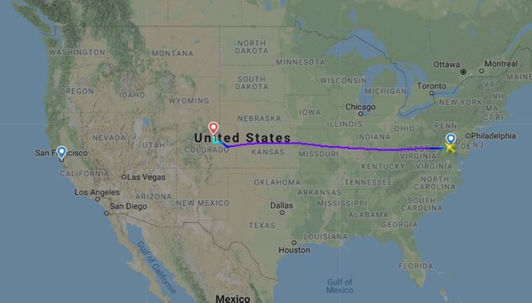 Route des United-Airlines-Fluges UA1554 am 25. September 2019 von Washington D.C. nach San Francisco.