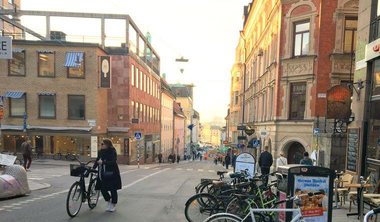 Straße in Södermalm in Stockholm