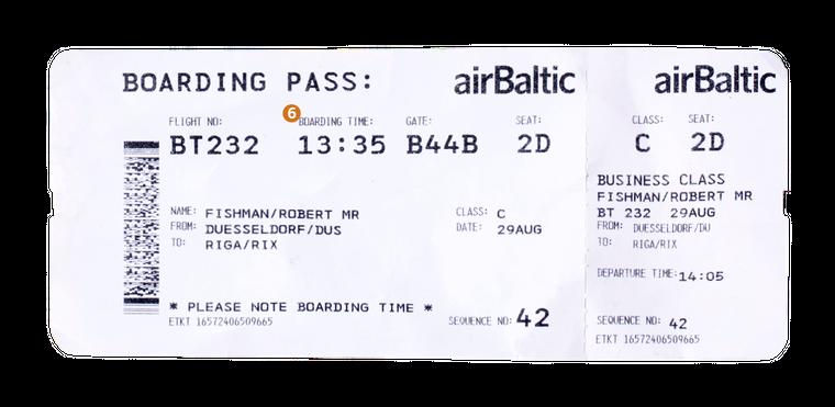 6. Die Boarding Time sagt dir, wann das Boarding am Gate voraussichtlich starten wird. In dem Fall müsstest du um spätestens 13.35 Uhr am Gate sein.