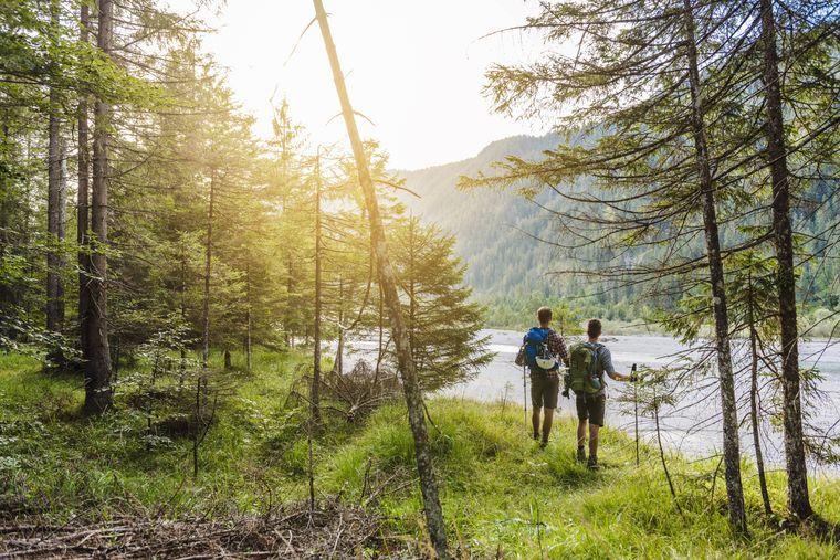 Zwei Wanderer im Nationalpark Bayerischer Wald.