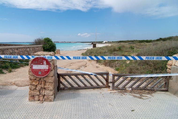 Geschlossener Strand auf Mallorca.