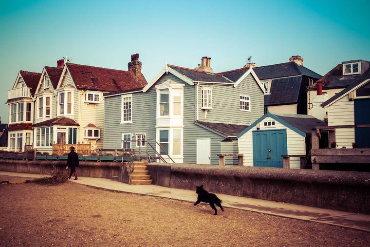 Die maritimen Häuser am Strand von Whistable.