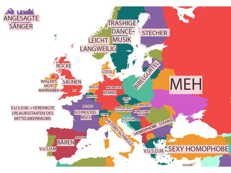 Übersetzte Vorurteils-Karte von Yanko Tsvetkov: Wie Schwule Europa sieht.