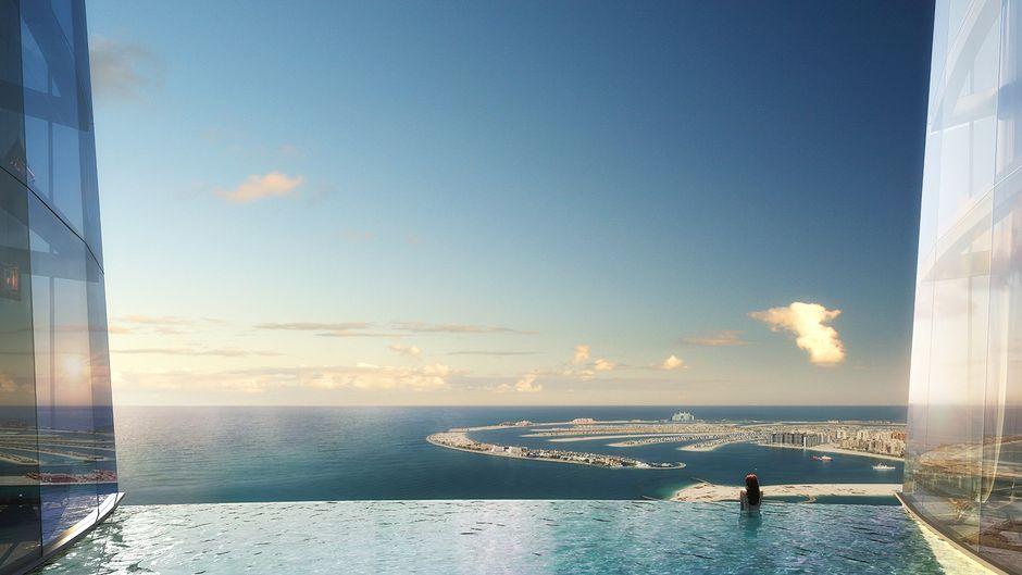 Das nennt sich wohl #PoolWithAView: Der Ausblick vom geplanten Infinity-Pool des Hotels Ciel in Dubai.