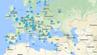 Karte von Flughäfen und ihren WLAN-Passwörtern.
