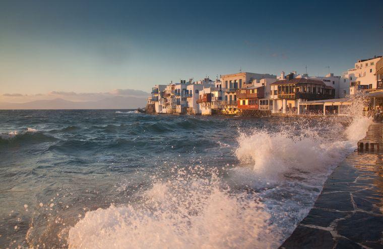 Wunderschöner Sonnenuntergang - Zu Bestaunen ist er in Little Venice auf Mykonos.