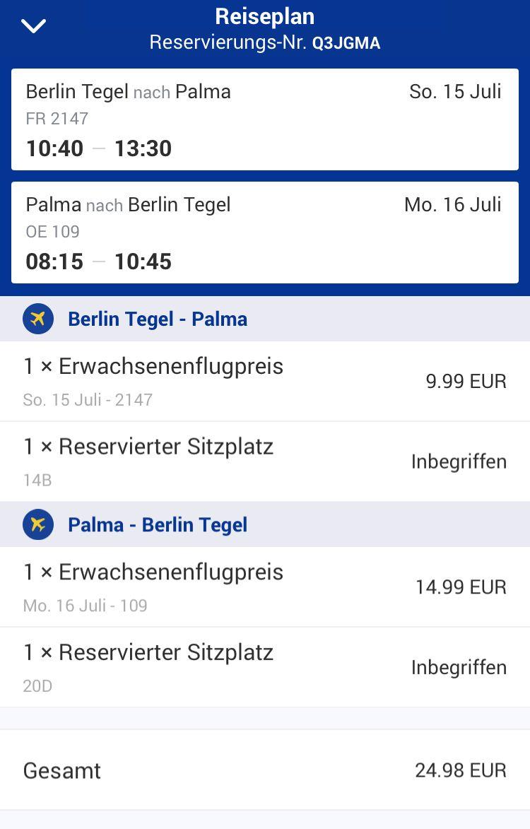 Schwarz auf Weiß: Hin- und Rückflug mit Ryanair und Laudamotion kosteten zusammen 24,98 Euro.