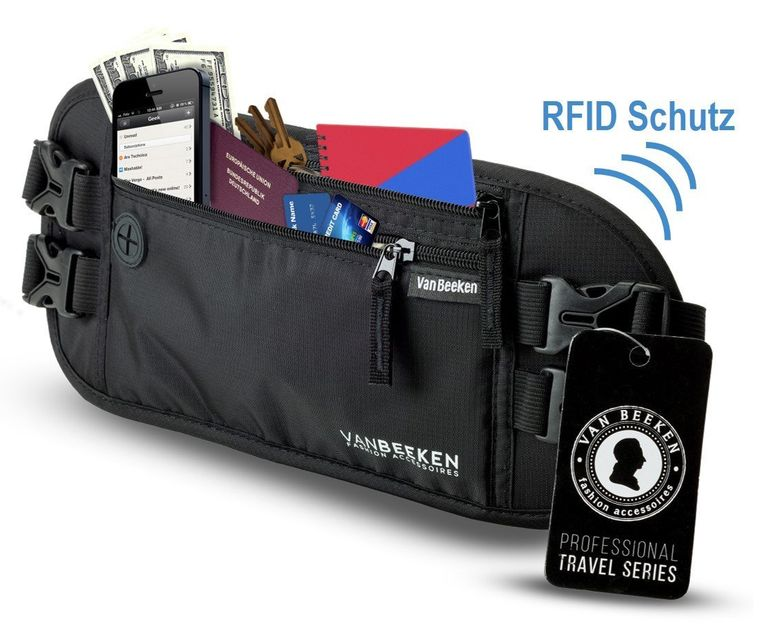 Flache Bauchtasche Hüfttasche mit RFID Blocker