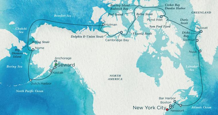 Die Route der Crystal Serenity führt über die Nordwestpassage.