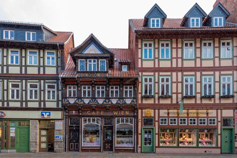 Café Wien, älteste Fachwerkhäuser in Wernigerode, errichtet 1583