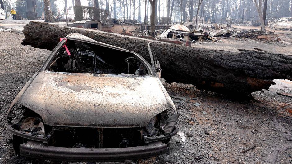 Ausgebranntes Auto und verkohlte Baumstämme in Paradise, Kalifornien.