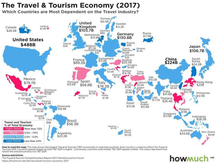 Die Karte zeigt, welche Länder besonders abhängig vom Tourismus sind