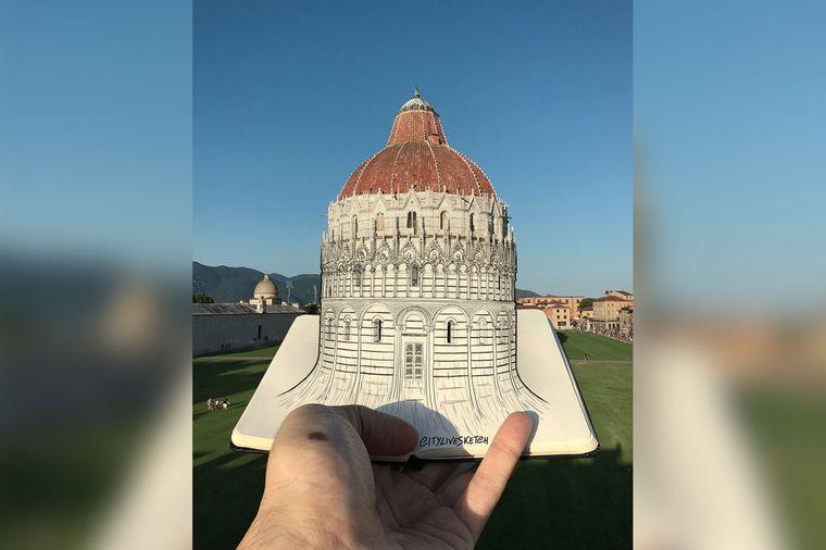 Das Baptisterium in Pisa steht auf der Must-see-Liste vieler Urlauber. Klar, dass auch Pietro hinmusste.