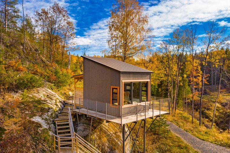 Tiny House Dristig mit einem Panorama-Blick über Kragerø in Norwegen.