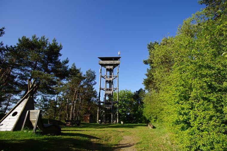 Vom Booser Eifelturm auf dem Schneeberg können Wanderer des Stumpfarmwegs weit über das Naturschutzgebiet Booser Maar schauen.