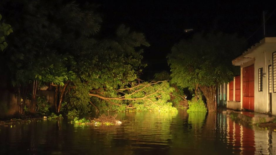 """In der Region Nayarit südlich des Touristenortes Mazatlán sorgte """"Willa"""" für überschwemmte Straßen und riss Bäume um."""