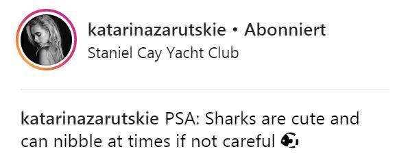 """Das Model postet die Bilder der Haiattacke bei Instagram und warnt, dass die Tiere """"kanbbern"""" können, wenn man nicht aufpasst."""