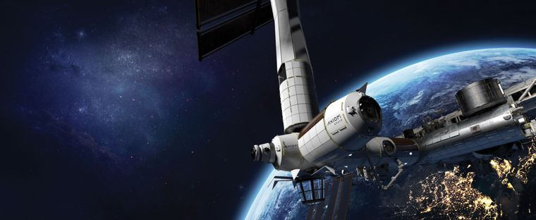 Die Raumstation Axiom Space im Weltall.