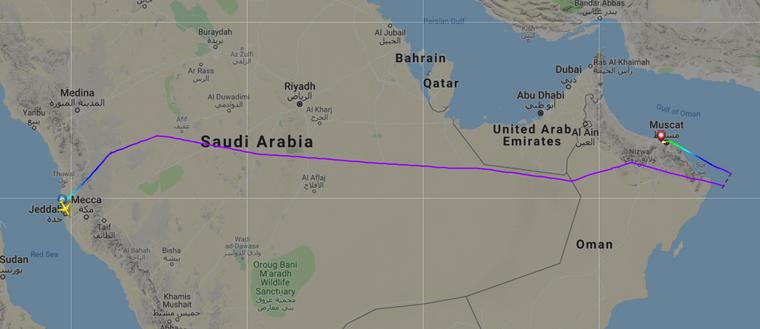 Flugroute des Flugs SV836 von Dschiddah nach Kuala Lumpur, der wegen einer schwangeren Frau in Muscat landen musste.