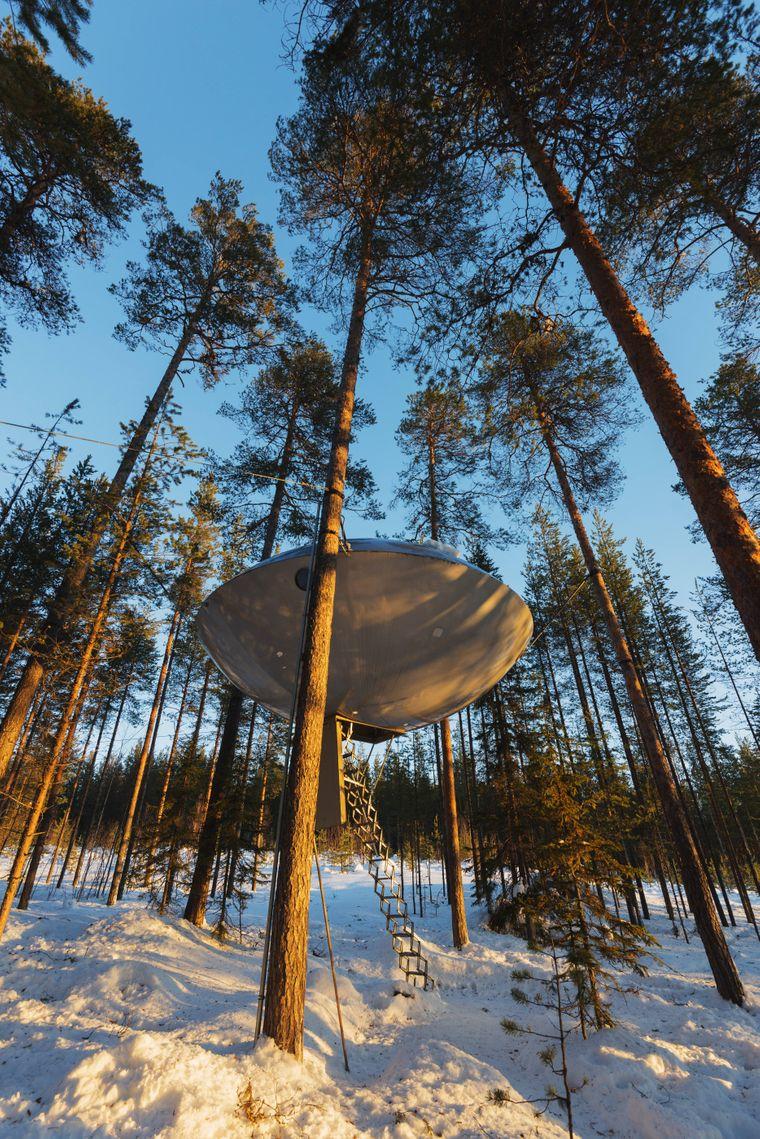 Schlafen im Ufo: The Tree Hotel in Schwedisch-Lappland wirkt außerirdisch.