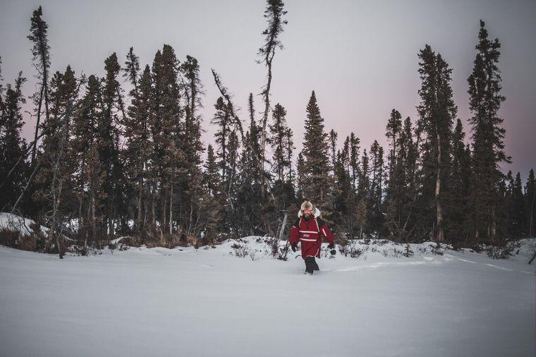 Tief verschneit ist die Landschaft im Yukon.